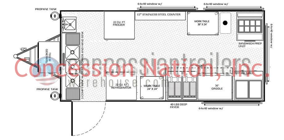 concession stand building plans catering trailer plans rh concessiontrailerswarehouse com Food Concession Trailers Concession Trailer Floor Plans